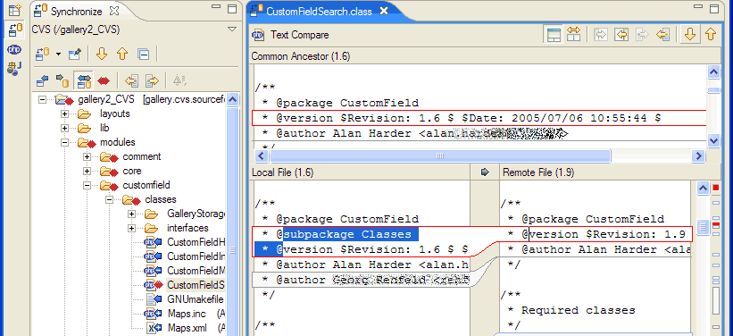 Eclipse compare editor on a conflicting *.class file.