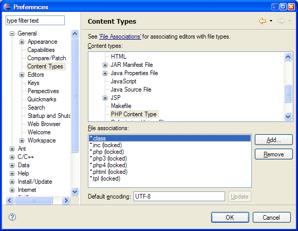 Eclipse: Adding *.class to the PHP Content types